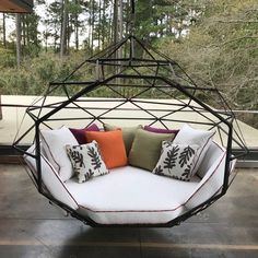 The Pod by Kodama Zome© - Outdoor Swing Bed / Lounge - Made in the USA, Easy Assembly Includes- Zome structure, mattress, wrap- around cushions and 2 - 22 inch Throw PillowsSunbrella Upholstery FabricZippered Cushions room sale Outdoor Beds, Outdoor Living, Outdoor Decor, Outdoor Fabric, Outdoor Swings, Backyard Hammock, Hammock Swing, Hammocks, Hanging Beds