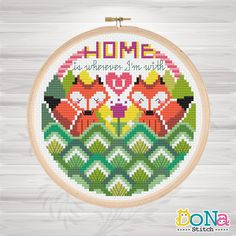 Red Foxes Home - Sweet Animal Couples Series - Cross Stitch Patterns - Sweet Home - Home is wherever I'm with you