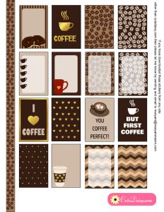 Free Printable Coffee Themed Planner Stickers for Happy Planner