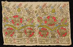 Turkish embroidered towel end fragment, colorful silk and gold foil embroidery on linen, 19th c