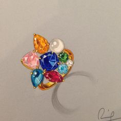 Fun ring #coloredstones #jewelryrendering #remyrotenier #jewelryartist #jewelry…