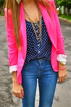 Polka Dots Blouse with Pink Blazer and Jeans
