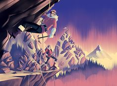 2014 LabelExpo America Illustrations Aurora by Brian Miller Illustration Art Drawing, Landscape Illustration, Illustrations, Graphic Design Illustration, Vintage Travel Posters, Pretty Pictures, Great Artists, Vector Art, The Incredibles