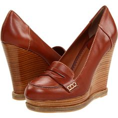 cognac leather loafer wedges.