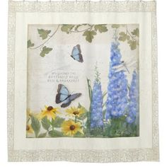 #country - #Rustic Farm House Vintage Butterfly Dragonfly Art Shower Curtain