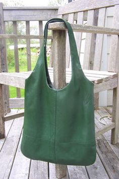 Green soft leather tote bag