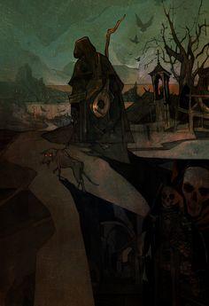 The Dark, Cyberpunk And Fantasy Paintings Of Jakub Rebelka Cyberpunk, Art And Illustration, High Fantasy, Fantasy Art, Fantasy Paintings, Horror, Fantasy Inspiration, Dark Art, Art Reference