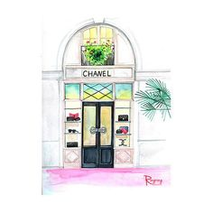 """This is a print of an original watercolor fashion illustration by Rongrong DeVoe, """"Paris Chanel Store"""", a """"must"""" destination for Chanel lovers when in Paris! Fun, colorful, whimsical artwork for any r"""