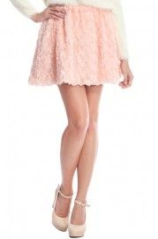 $26.99 ROMWE Faux Roses Embellished Pink Skirt