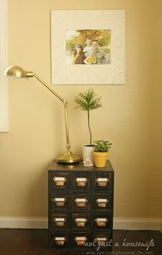 How to build a card catalog side table! #DIY www.notjustahousewife.net   been looking for the authentic old library card catalog items for a long time and there are pricey thus may try this!!