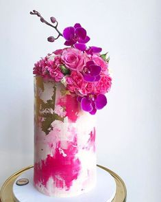 Contemporary Wedding Cakes by Don't Tell Charles ~ watercolor skyscraper cake with edible gold leaf