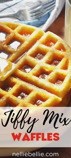 Jiffy Cornbread Waffles — so EASY and loved by families everywhere! These cornbread waffles are crazy easy to make using Jiffy cornbread mix! A great family weekend breakfast idea. Jiffy Mix Recipes, Jiffy Cornbread Recipes, Waffle Maker Recipes, Breakfast Hotel, Breakfast Waffles, Breakfast Dishes, Breakfast Recipes, Pancakes, Mexican Breakfast