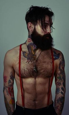 Beard + suspenders + tattoos = BADASS