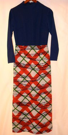 Vintage Dress 60s 70s Navy Blue Long Sleeve by PinkCheetahVintage, $28.00
