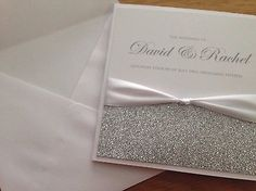 Handcrafted Wedding Invitations Choice Colours Glitter Silver White Christmas