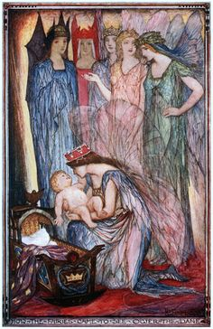 """Henry Justice Ford, """"How the Fairies Came to See Ogier the Dane"""", illustration for Andrew Lang's """"Red Romance Book"""""""