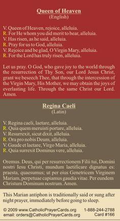 Queen of Heaven Regina Caeli Prayer 🙏🏼 😇 Catholic Religion, Catholic Quotes, Catholic Prayers, Power Of Prayer, My Prayer, Hail Mary In Latin, Becoming Catholic, Universal Prayer, English Prayer