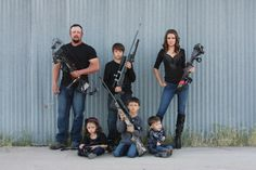 I'm thinking christmas card picture :) 25 Cute Family Christmas Picture Ideas . We got more guns than people in my family lol but probably not doing this just looked funny