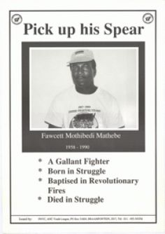 White poster with black lettering and black border. Photo of Fawcett Mothibedi Mathebe. 1958 - Wearing a SAYCO T-shirt. Apartheid, Pick Up, Revolutionaries, Lettering, Baseball Cards, Drawing Letters, Texting