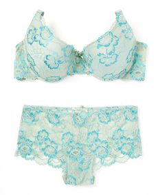 Look what I found on #zulily! Green Floral Lace Push-Up Bra & Boyshorts - Plus Too #zulilyfinds