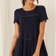 Granatowa sukienka Pola  w stylu boho