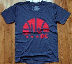 a8b63c22 Washington DC Basketball V-neck Shirt Size Large L by Sneekis Navy Color,  Vintage