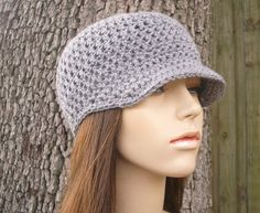 Crochet Hat Womens Hat Newsboy Hat  Skater Boy Cap in by pixiebell (Accessories, Hats & Caps, Newsboy Caps, Grey Newsboy Cap, Newsboy Hat, Womens Hat, Warm Hat, Hand Crochet Hat, Crocheted Hat Womens, Womens Accessories, Womens Newsboy Hat, grey crochet hat, grey newsboy hat, grey womens hat)
