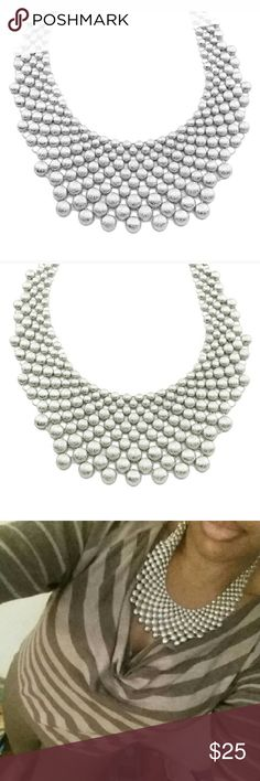 Silver Crystal Deco Firework Necklace Fabulous statement necklace!    Compliments any outfit & great for any season or occasion.  18k silver plated base metals, glass crystals.  Nickel & Lead free. Jewelry Necklaces