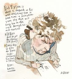 Barry Blitt's Kvetchbook cartoon imagines Bob Dylan preparing to embark on a seventeen-year concert tour and wonders where the Bard gets the energy and focus to take on such a herculean feat. Bob Dylan Poster, Miss The Old Days, John Lennon Beatles, New Yorker Cartoons, Green Books, Secrets Revealed, Keith Richards, The New Yorker, Illustrators