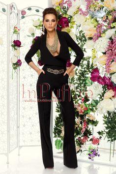 salopeta eleganta evazata neagra Jumpsuit, Dresses, Fashion, Elegant, Lady, Overalls, Vestidos, Moda, Fashion Styles