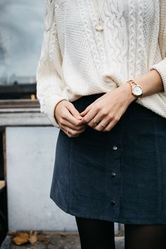navy skirt, white sweater, winter outfit