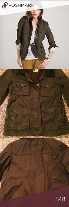 JCrew Utility Jacket Classic JCrew jacket! Waxed, brown with buttons. J. Crew Jackets & Coats Utility Jackets