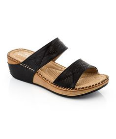 Loving this Black Twist Stitch Sandal on #zulily! #zulilyfinds