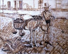 El vendedor de Hortalizas, realizada con acrílico plata y nogalina. Pertenece a la serie La España Antigua.