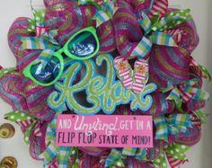 Flip Flop Wreath Summer Wreath Spring by WelcomingWreathsMore