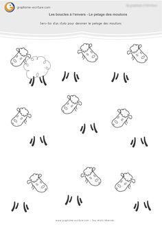 Kindergarten activity GS graphics Buckles upside down – Draw the sheep's coat using the looping gesture to the reverse. PDF Large Section Sheet. Kindergarten Lesson Plans, Kindergarten Activities, Web Animal, Maternelle Grande Section, Activities For 2 Year Olds, Farm Theme, Writing Skills, Fine Motor, Worksheets