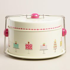 """Featuring our exclusive birthday cake design, our treat carrier with fasten-on handles secures a 10"""" diameter cake or an entire batch of cupcakes for safe and easy transport. A separate top tier provides extra space for a pie, mini cupcakes or serving utensils."""