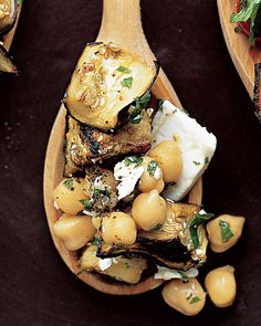 The feta and chickpeas combine to give this eggplant salad a well-rounded Mediterranean flavor.