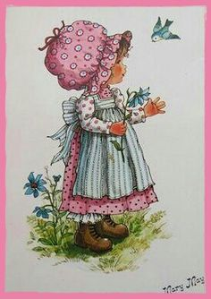 Mary May guarda l'uccellino azzurro - disegno originale. Sarah Kay, Mary May, Cartoon People, Holly Hobbie, Spring Art, Hobbies And Crafts, Vintage Children, Vintage Postcards, Clipart