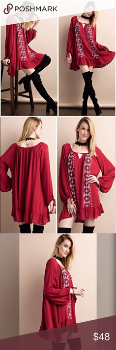 Stunning cranberry/plum embroidered keyhole dress! LONG SLEEVE RAYON RUFFLED DRESS FEATURED EMBROIDERY DETAILING FRONT Dresses