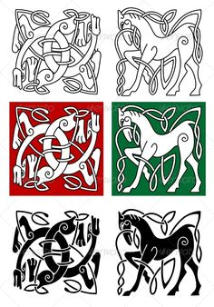 Buy Celtic Horse and Abstract Monster by VectorTradition on GraphicRiver. Celtic horse and abstract monster with ornament in medieval style. Editable and JPEG (can edit in any vector and. Viking Designs, Celtic Knot Designs, Celtic Symbols, Celtic Art, Celtic Knots, Irish Celtic, Celtic Horse Tattoo, Horse Tattoos, Beast