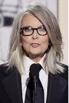 2014 Golden Globes. Diane Keaton goes gray, and looks stunning! ~ETS #dianekeaton #grayhair