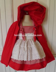 2 PCS Little Red Riding Hood Traje Boutique Algodão Frock Designs Para Orgânica…
