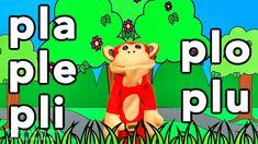 Sílabas pla ple pli plo plu - El Mono Sílabo - Videos Infantiles - Educa...