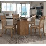 Conjunto Sala De Jantar Mesa Lankaster E 4 Cadeiras Suprema Lj Móveis Castanho/Bege