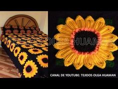 muestra # 16 girasol para colcha a crochet video 1 - YouTube