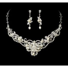 ded9a958a59 Silver Freshwater Pearl  amp  Crystal Jewelry Set