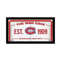 """Steiner Sports Montreal Canadiens Framed 10"""" x 20"""" Man Cave Sign, Multicolor"""