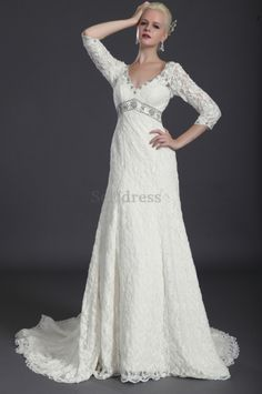 Misses Romantic Spring Winter Jewel Accented Apple Button Floor Length Lace Fabric Wedding Dress