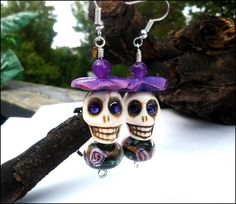 Jade, Purple Swarovski  Day of the Dead White Turquoise Skull Earrings   specialtivity - Jewelry on ArtFire #bmecountdown